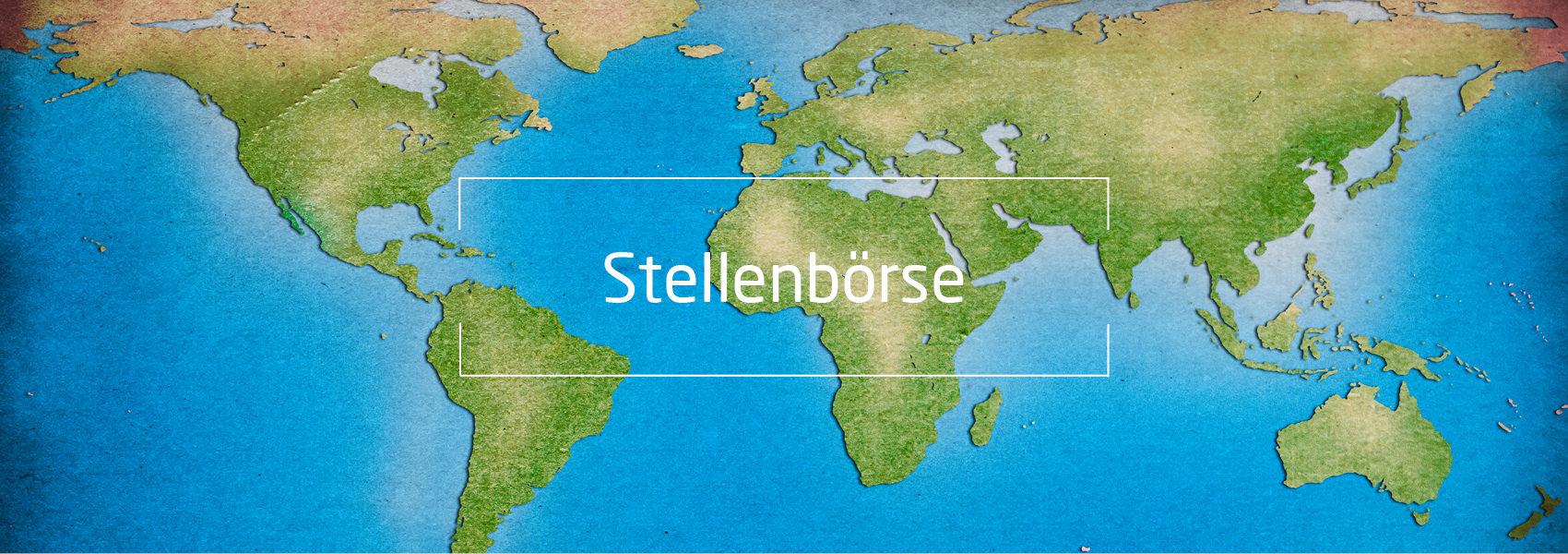 Weltkarte, Text: Stellenbörse